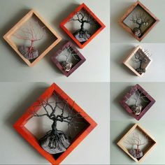 Our framed wire tree wall art in customizable color combos, separately or in sets! www.driftingconcepts.com