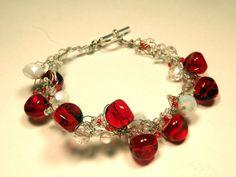 Bracelet: Festive Red and White  http://www.etsy.com/shop/blissfulbite