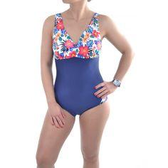 Dámske jednodielne plavky s kvetmi - modré One Piece, Swimwear, Fashion, Bathing Suits, Moda, Swimsuits, Fashion Styles, Fashion Illustrations, Costumes