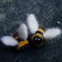 "Needle felted bees - a great beginners needling project from Dionne Nickel of ""Passengers on a Little Spaceship"""