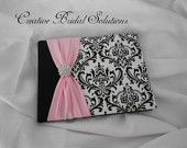 Black and White Madison Damask with Pink Wedding Guest Book, $42