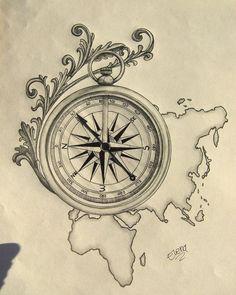 Around the world by SpleenArt on DeviantArt - Tattoo minimaliste geometric, Tattoo minimaliste meaning Tattoo minimaliste symbole linear, Tattoo minimaliste ,Tattoo minimaliste flower Map Tattoos, Neue Tattoos, Tattoo Drawings, Body Art Tattoos, Sleeve Tattoos, Travel Tattoos, Arrow Tattoos, Globe Tattoos, Heart Tattoos