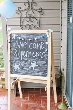 DIY Superhero Birthday Party welcome sign.