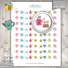 Printable Planner Stickers Gardening Stickers Erin Condren Kawaii Stickers Garden Stickers Gardener Planner Accessories Cute Stickers (1.50 USD) by YupiYeiPapers