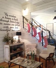 Farm Christmas| I love the washed ship lap walls.. maybe consider it in my living room or laundry and mud room, or just one wall that is washed ship lap..