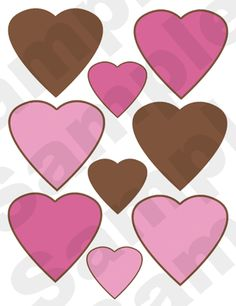 "Pink & Brown Hearts Nursery Wall Stickers. The larger hearts measure 3.5"". The smaller hearts measure 2.25""."