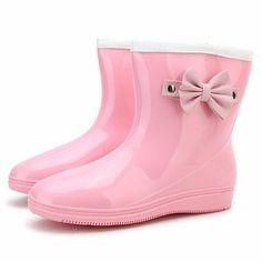 Candy Color Korean Japanese Style Butterflyknot Waterproof Slip On Ankle Flat Rain Boots - Gchoic.com#shoes #fashion #women #poplar #beautiful #boots