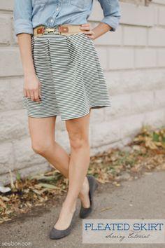 Striped Pleated Knit Skirt Sewing Tutorial :: Sewbon