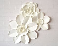 Set of 13 paper wall flowers by MayContainGlitterUK on Etsy