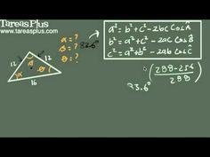 Teorema del coseno ejemplo 4 (tres lados) Decimal, Arabic Calligraphy, Math Equations, Trigonometry, Engineering, Shape, Law Of Cosines, Fractions, Finance