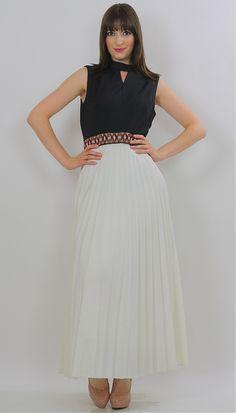 Vintage 70s Boho Grecian Goddess pleated maxi dress - shabbybabe  - 1