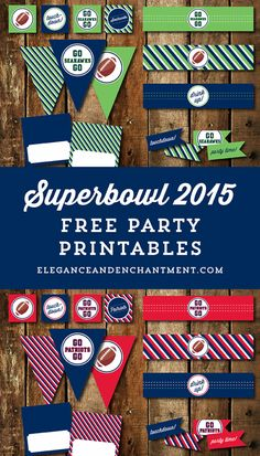 Free Superbowl Party Printables - New England Patriots vs. Seattle Seahawks // from Elegance & Enchantment Super Bowl Party, Patriots Superbowl, Football Birthday, Football Parties, Party Printables, Easter Printables, Free Printables, Sports Party, Tags