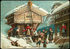 kartongkort tiedemand Scandinavian Christmas, Christmas Cards, Painting, Ethnic, Mountain, Dolls, Comics, People, Art
