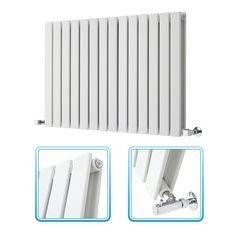 635mm x 980mm - White Landscape Double Panel Designer Radiator - Slimline Panels - Image 1