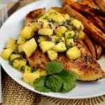 Cajun Chicken with Mardi Gras Salsa & Spicy Sweet Potato Fries