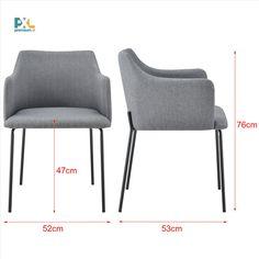Elegantne tvarovaná, vyrobená vo vysokej kvalite, zaujme čistým tvarom, moderným dizajnom a vynikajúcimi úžitkovými vlastnosťami. Výška: 76 cm, šírka: 52 cm, hĺbka: 53 cm, výška sedáku: 47 cm. Čalúnenie: sivá tkanina (100% polyester), nohy stoličky: čierny kov. 1 ks balenie, produkt značky [en.casa]