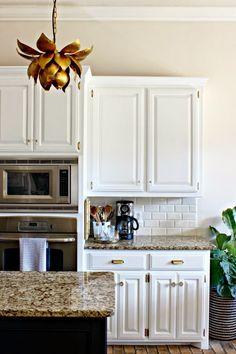Kitchen Makeover || White Cabinets || Black Island || Brass Hardware || World Market Lotus Pendant Light