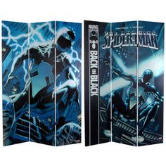 @Overstock - This well-crafted three panel limited edition design is great for comic collectors as well as fans and aficionados of outstanding twentieth century graphic art.http://www.overstock.com/Worldstock-Fair-Trade/Six-Foot-Tall-Double-Sided-Spider-Man-Back-in-Black-Canvas-Room-Divider-China/7492617/product.html?CID=214117 $163.99