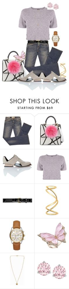 """""""Pink Parade"""" by horsecoach ❤ liked on Polyvore featuring Elizabeth and James, Les Petits Joueurs, Abcense, Monrow, Nina Ricci, Maison Margiela, Michael Kors, Stephen Webster and Swarovski"""