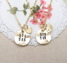 Big Sis Lil Sis necklaces, set of two, matt gold discs, sisters jewelry, matching necklaces for sisters,sister gift, birds, tiny gold bird on Etsy, $34.00