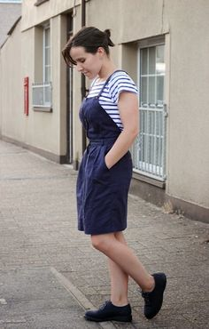 Why I love classic styles over modern trends - rocking a Fred Perry pinafore with a striped Breton top and Doc Marten shoes - simple and chic