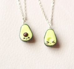Green avocado bff friendship necklace pendant heart pit Valentines love bff Mother's day gift bb present necklace best friend healthy food Bff Necklaces, Best Friend Necklaces, Best Friend Jewelry, Couple Necklaces, Bff Gifts, Best Friend Gifts, Gifts For Friends, Kawaii Jewelry, Cute Jewelry