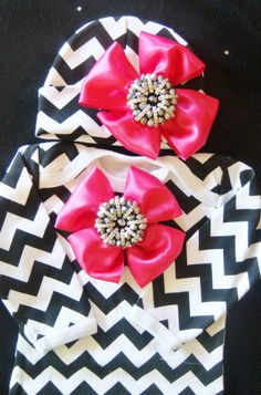 NEWBORN baby girl take home outfit complete CHEVRON gown beanie hot pink black white broach rhinestone
