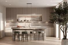 Interior Design Kitchen, Interior And Exterior, Two Tone Kitchen, Modern Prefab Homes, Cabinet Decor, Interior Architecture, Projects, Spaces, Celine