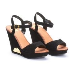 Wedge Sandals // Black with tiny gold accent, note the cute, simple straps