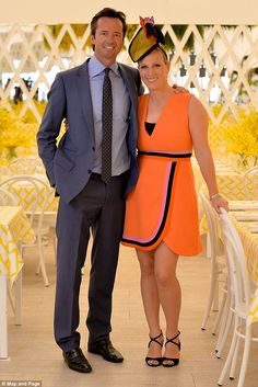 Zara Phillips stunned in orange ahead of the Magic Millions races in Queensland, Australia, seen with event ambassador Hamish McLachlan Prince William Girlfriends, Royal Fashion, Girl Fashion, Zara Looks, Royal Colors, Colours, Zara Phillips, Australian Fashion Designers, Paisley Print Dress