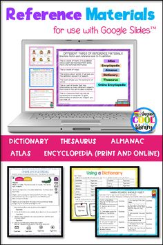 Review with your students how to use different types of reference materials with this Google Slides resource. Review how to use a dictionary, encyclopedia (online and print), thesaurus, almanac and atlas.