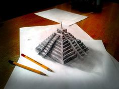These incredible sketches by self-taught Dutch artist Ramon Bruin will blow your mind.Using just a pencil, a few sheets of paper and a carefully placed camera he creates drawings that almost float in. 3d Pencil Art, 3d Pencil Sketches, 3d Sketch, Croquis 3d, 3d Illusion Drawing, Easy 3d Drawing, Origami, 3d Drawings, Art Graphique