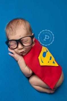 Photography Prop Newborn Boy Halloween Superhero Superman Costume, cape & cuffs