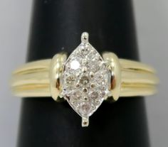 #jewelry Solid 14K Gold ~ Pretty Marquise Shape Cluster Ring w/ Natural DIAMONDS ~ 4.4 gr please retweet