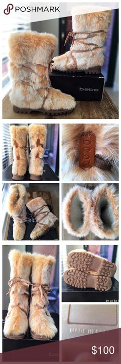 Bebe Fur Mammoth Boots - Mid-calf Shearling Lined Bebe Mammoth Boots made in Spain. Exterior is super soft rabbit fur, interior is lined in Shearling for extra warmth! The box says camel fur but I believe it's actually rabbit fur. The rubber soles offer great traction. Great condition with minimal signs of wear.  The fur on the toe edge areas are rubbed off a bit which is hardly noticeable. bebe Shoes Winter & Rain Boots