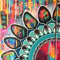 "details of diptych ""Black Flower Mandala"" by Tanja Zinkl, available on Etsy Flower Mandala, Art Blog, Detail, Flowers, Painting, Etsy, Black, Black People, Florals"