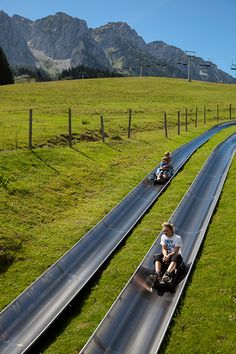 Sommerrodeln im #Kaiserwinkl in Tirol; Austria  ~ Summer sledding - looks like great fun!