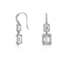 Obsessed with this Emerald-Cut Diamond Halo Double Drop Earrings in 18k White Gold  Perfect for our vintage inspired wedding  | Click for your chance to win a $1000 gift card from #BlueNile!