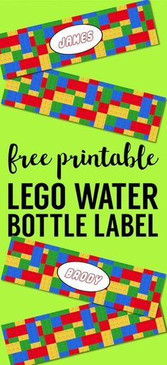 Free Printable Lego Water Bottle Labels. Bottle Wrappers for fun easy lego party decor. Lego birthday party ideas that are cheap and easy. #papertraildesign #freepartyprintables #legodecor #legoparty