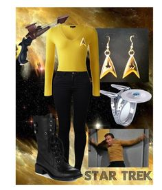 """""""Star Trek (Yellow Shirt)"""" by smellypie ❤ liked on Polyvore featuring Jigsaw, Noisy May, Sam Edelman, women's clothing, women, female, woman, misses and juniors"""