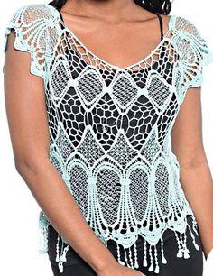 Crochet Scallop Hem Scoop Neckline See Through Blouse Short Sleeve Womens Top