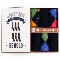 Argyle Men's 6 Sock Gift Box
