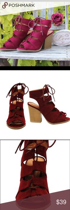 ☀️ NIB Peep Toe Lace Up Chunky stack Heel Bootie Brand new in box. I have multiple sizes. Please feel free to ask any questions! This item also runs true to size Shoes Ankle Boots & Booties