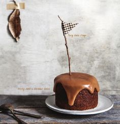 Sticky Date and Caramel mini cake #recipe with twig cake flags #DIY | Sweet Paul Magazine - Fall 2015