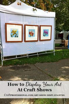 Click through for some great photos displaying art http://www.craftprofessional.com/art-show-displays.html
