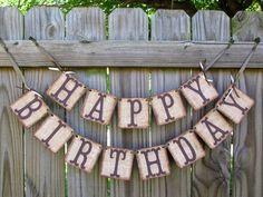 Burlap Happy Birthday Banner Rustic Party Adult Birthday Banner on Etsy, $26.95
