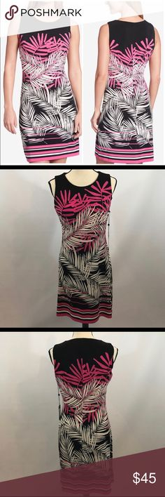 NWT Tommy Hilfiger Tropical Sheath Dress Size 10 NWT Tommy Hilfiger Tropical Sheath Sleeveless Dress  Size 10 Polyester/Spandex  Great spring/summer Statement piece! Tommy Hilfiger Dresses Midi