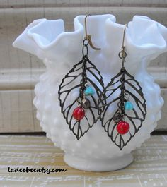 Leafy Dangle Earrings. Starting at $5 on Tophatter.com!