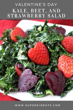 Kale, Beet, and Strawberry Valentine's Day Salad - Superkid Eats Healthy Salad Recipes, Whole Food Recipes, Vegetarian Recipes, Snack Recipes, Kale Recipes, Yummy Recipes, Cookie Recipes, Snacks, Food Meaning