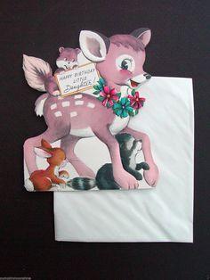 F386 Vintage Unused Die Cut Birthday Greeting Card Cute Bambi Deer Friends | eBay